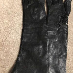 Women's Vintage Black Leather Long Gloves